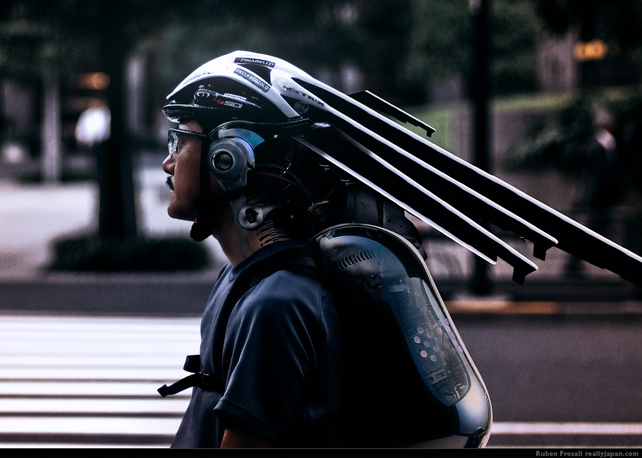 A cyberpunk on a bicycle